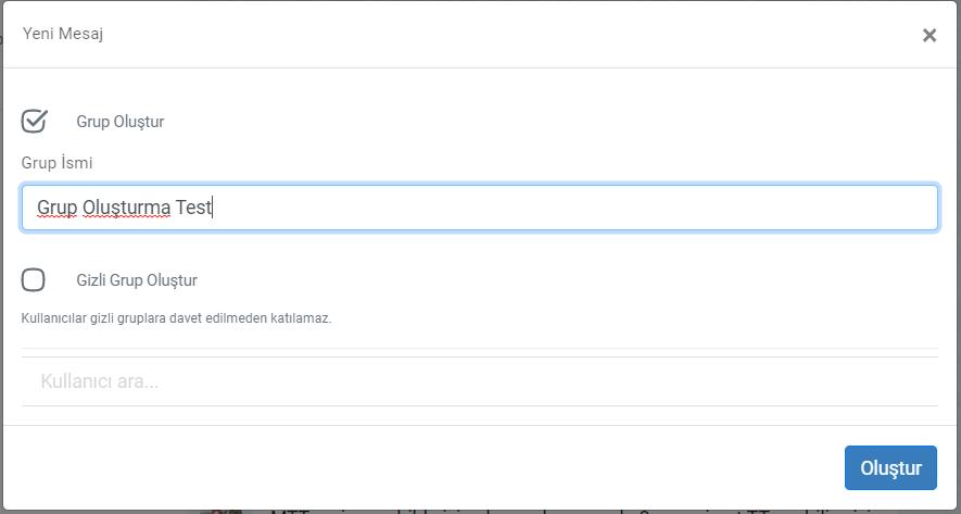 chat2 - Yeni Yazışma Grubu Oluşturma